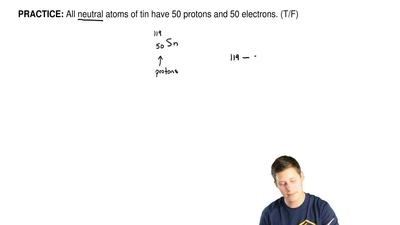 All neutral atoms of tin have 50 protons and 50 electrons. (T/F) ...