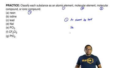 Classify each substance as an atomic element, molecularelement, molecular com...