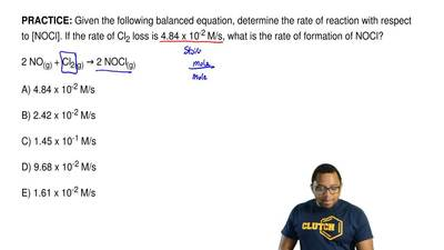 Given the following balanced equation, determine the rate of reaction with res...
