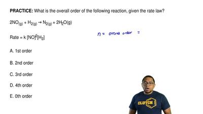 What is the overall order of the following reaction, given the rate law?  2NO(...