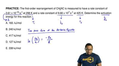 The first-order rearrangement of CH3NC is measured to have a rate constant of ...