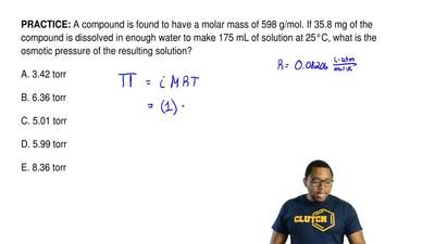 A compound is found to have a molar mass of 598 g/mol. If 35.8 mg of the compo...