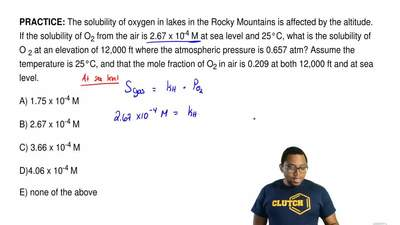 The solubility of oxygen in lakes in the Rocky Mountains is affected by the al...