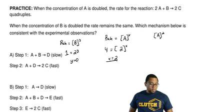 When the concentration of A is doubled, the rate for the reaction: 2 A + B → 2...