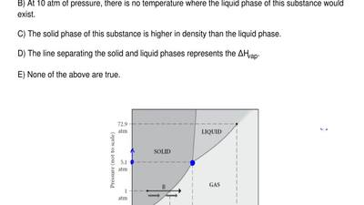 Consider the phase diagram shown.  Choose the statement below that is TRUE.   ...