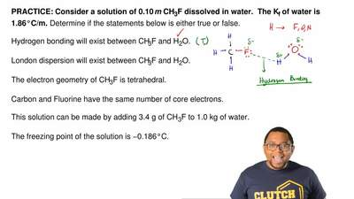 Consider a solution of 0.10 m CH3F dissolved in water.  The Kf of water is 1.8...