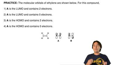 The molecular orbitals of ethylene are shown below. For this compound,  1) A i...