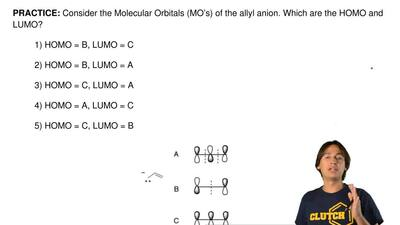 Consider the Molecular Orbitals (MO's) of the allyl anion. Which are the HOMO ...