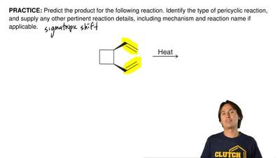 Predict the product for the following reaction. Identify the type of pericycli...