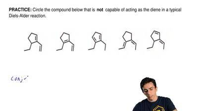 Circle the compound below that is  not  capable of acting as the diene in a ty...