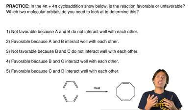 In the 4π + 4π cycloaddition show below, is the reaction favorable or unfavora...