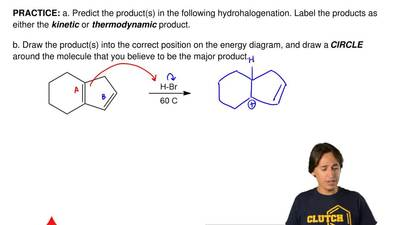 a. Predict the product(s) in the following hydrohalogenation. Label the produc...