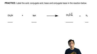 Label the acid, conjugate acid, base and conjugate base in the reaction below....