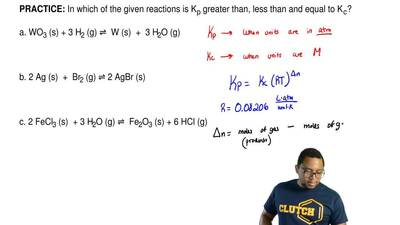 In which of the given reactions is Kp greater than, less than and equal to K...