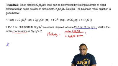 Blood alcohol (C2H5OH) level can be determined by titrating a sample of blood ...