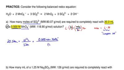 Consider the following balanced redox equation:   H2O  +  2 MnO4 –  +  3 SO32-...