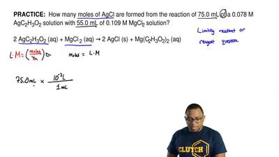 How many moles of AgCl are formed from the reaction of 75.0 mL of a 0.078 M A...