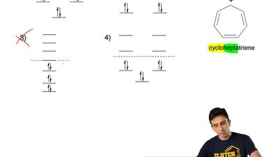 Which of the following best describes the MO diagram of the aromatic cyclohept...
