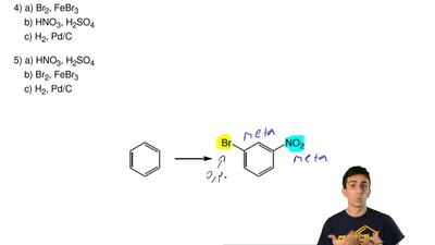 Which sequence of reactions would give the indicated product?  1) a) HNO3, H2S...