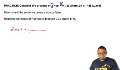 Consider the process of 2 H(g) → H2(g) where ΔH = −436 kJ/mol  Determine if th...