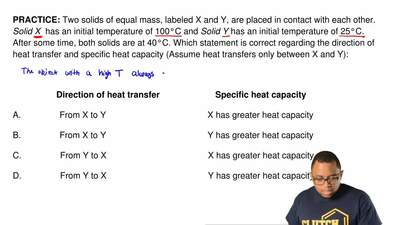 Two solids of equal mass, labeled X and Y, are placed in contact with each oth...