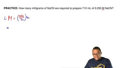 How many milligrams of NaCN are required to prepare 712 mL of 0.250 M NaCN? ...
