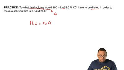 To what final volume would 100 mL of 5.0 M KCl have to be diluted in order to ...