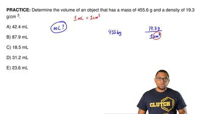 Determine the volume of an object that has a mass of 455.6 g and a density of ...