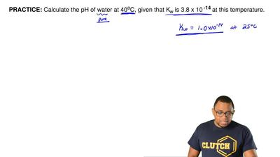 Calculate the pH of water at 40 oC, given that Kw is 3.8 x 10 -14 at this temp...