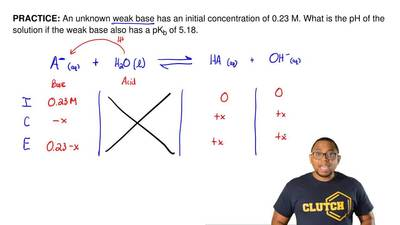 An unknown weak base has an initial concentration of 0.23 M. What is the pH of...