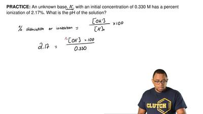 An unknown base, A-, with an initial concentration of 0.330 M has a percent io...