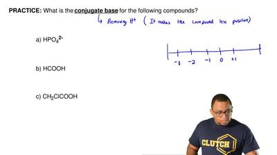 What is the conjugate base for the following compounds?  a) HPO42-    b) HCOO...