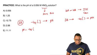 What is the pH of a 0.056 M HNO 3 solution?  A) 0.056  B) 1.25  C) 12.75  D) 2...