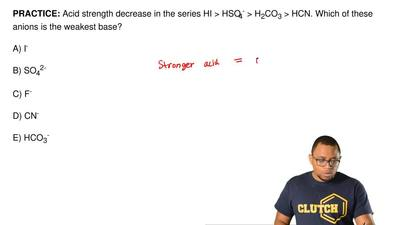 Acid strength decrease in the series HI > HSO4- > H2CO3 > HCN. Which ...