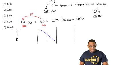 Calculate the pH of a 0.021 M NaCN solution. KaofHCN= 4.9 x 10-10  A) 1.68...