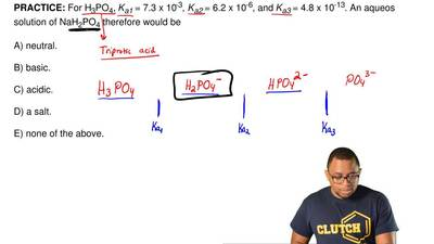 For H3PO4, Ka1 = 7.5 x 10-3, Ka2 = 6.2 x 10-8, and Ka3 = 4.2 x 10-13. An aqueo...