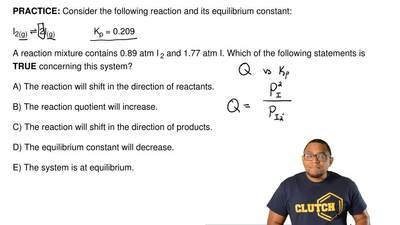 Consider the following reaction and its equilibrium constant:  I2(g) ⇌ 2I(g)  ...