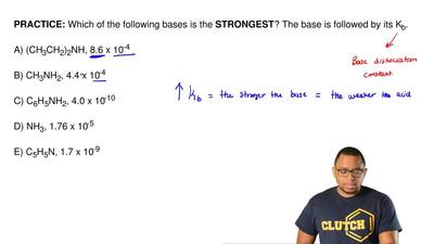 Which of the following bases is the  STRONGEST? The base is followed by its Kb...