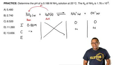 Determine the pH of a 0.188 M NH 3 solution at 25°C. The Kb of NH3 is 1.76 x 1...