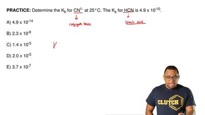 Determine the Kb for CN1- at 25°C. The Ka for HCN is 4.9 x 10-10.  A) 4.9 x 10...