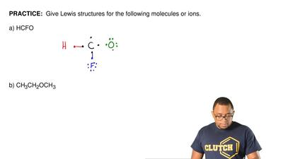 Give Lewis structures for the following molecules or ions.  a) HCFO      ...