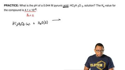 What is the pH of a 0.044 M pyruvic acid, HC 3H3O3, solution? The Ka value for...