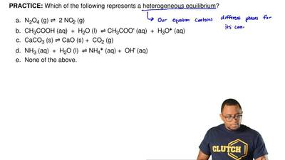 Which of the following represents a heterogeneous equilibrium?   	N2O4 (g) ⇌  ...