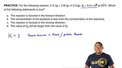 For the following reaction, 2 A (g) + 3 B (g) ⇌ 2 C(g), Kp = 4.9 x 106 at 25oC...