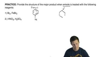 Provide the structure of the major product when anisole is treated with the fo...