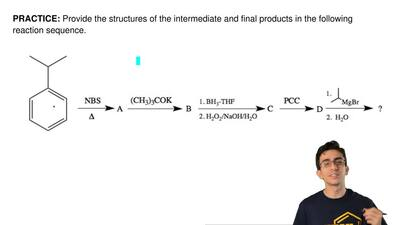 Provide the structures of the intermediate and final products in the following...