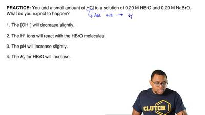 You add a small amount of HCl to a solution of 0.20 M HBrO and 0.20 M NaBrO. W...
