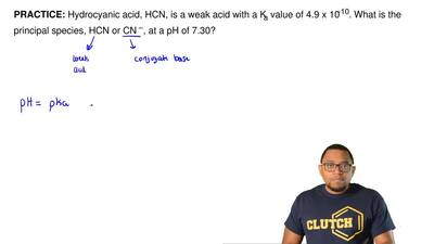 Hydrocyanic acid, HCN, is a weak acid with a Ka value of 4.9 x 10-10. What is ...