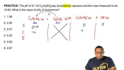 The pH of 0.1 M C4H9NH2(aq) (butylamine)aqueous solution was measured to be ...