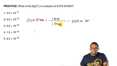 What is the [H3O+] in a solution of 0.075 M KOH?  1. 4.0 × 10−11  2. 5.5 × 10−...